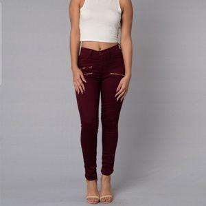 Denim - Burgundy Jeans with Zip Details